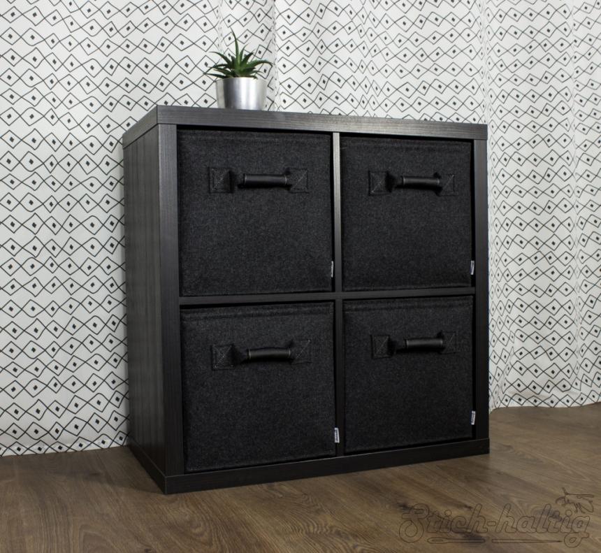 Schublade mit Ledergriff schwarz