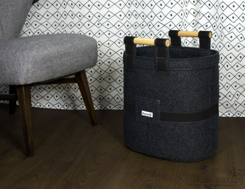 Filzkorb Leder schwarz