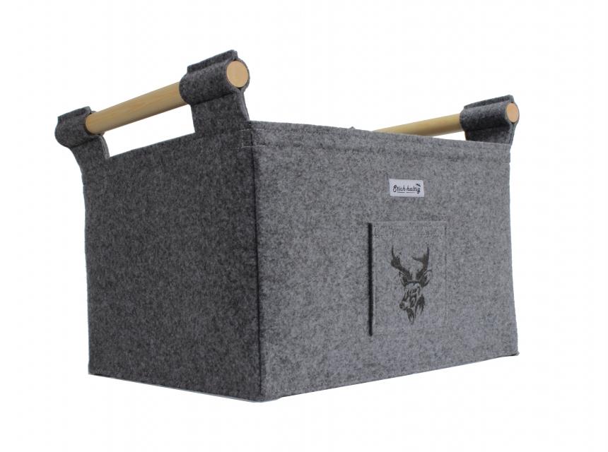 Filzkorb für Kamin mit Hirsch