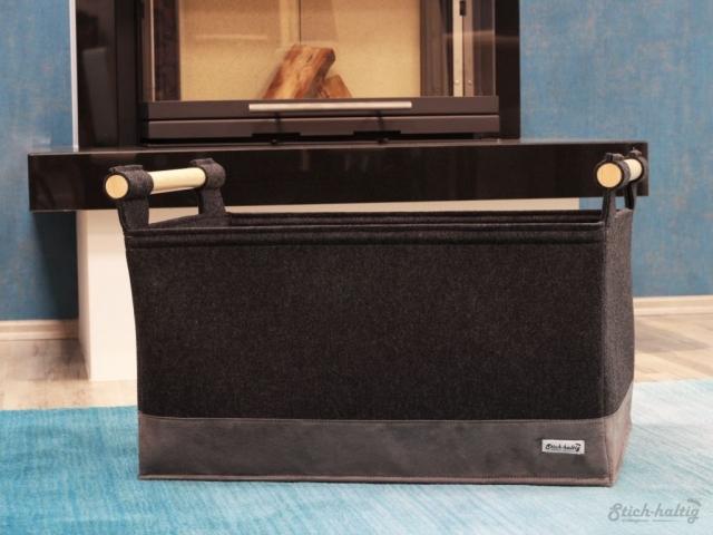 Holzkorb XL mit Lederboden