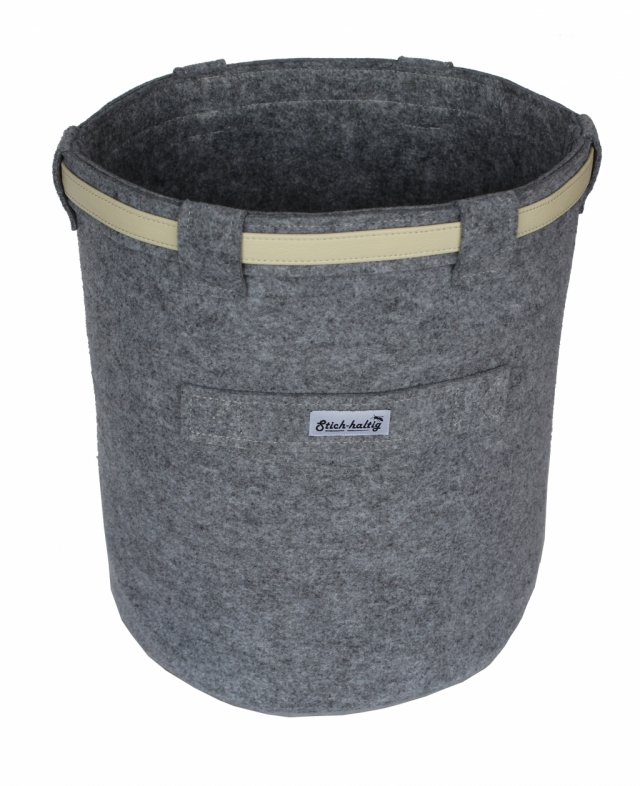 Papierkorb mit Lederband