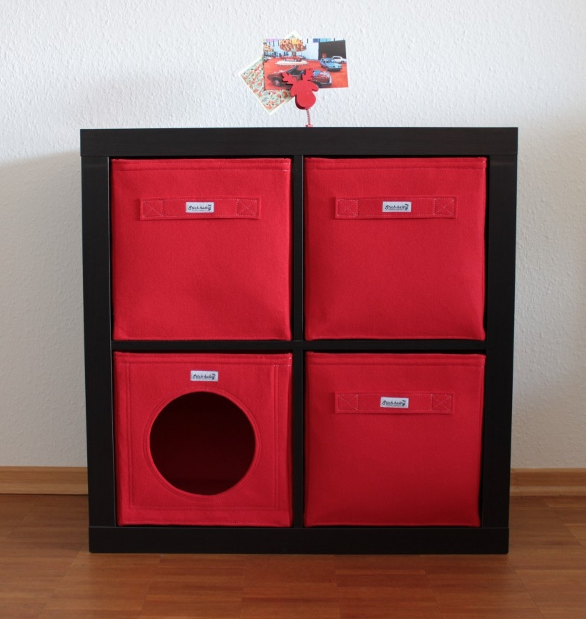 katzenh hle aus filz rot. Black Bedroom Furniture Sets. Home Design Ideas