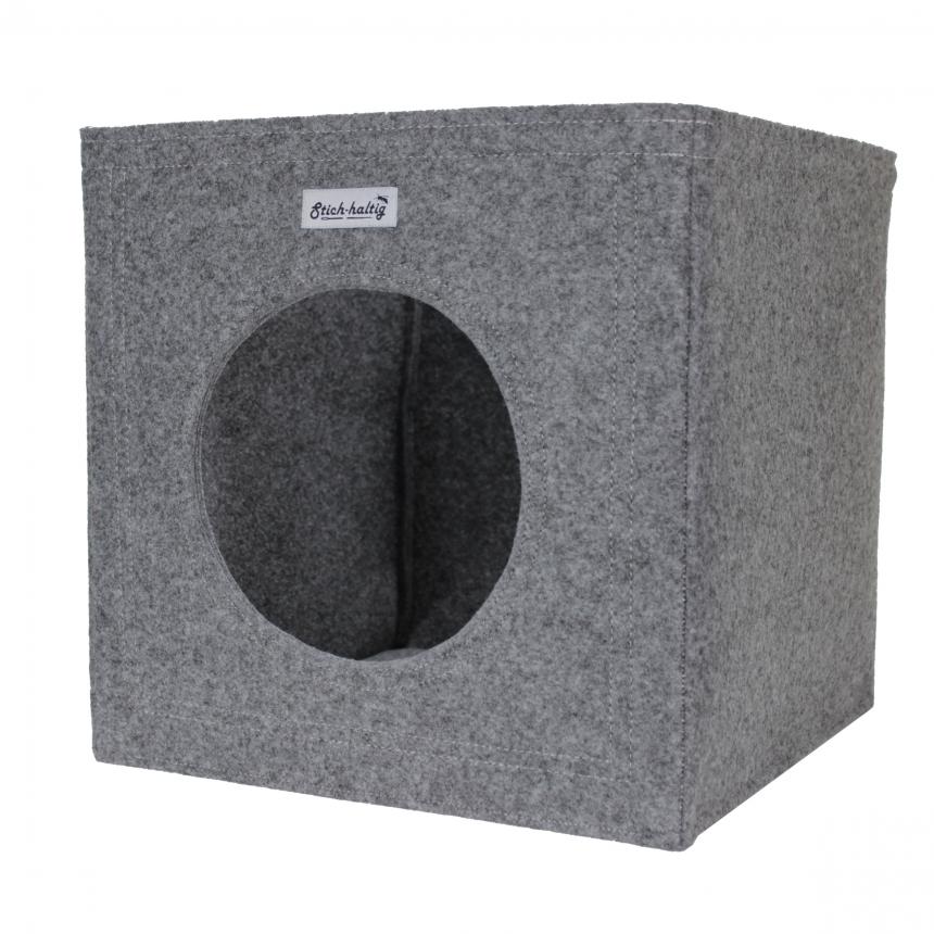 katzenh hle hellgrau aus filz von stich haltig. Black Bedroom Furniture Sets. Home Design Ideas