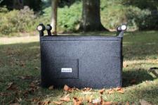 Filzkorb dunkelgrau mit praktischer Tasche für Streichhölzer