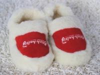 Hausschuhe aus Schafswolle rot