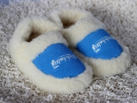Hausschuhe Wolle blau
