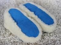 Hausschuhe Wolle und Leder blau