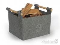 Holzkorb aus Filz hellgrau mit Feuermotiv