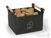 Holzkorb aus Filz dunkelgrau mit Feuermotiv