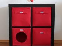 Katzenhöhle aus Filz rot