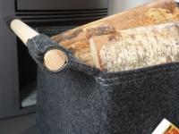 feuerholzkorb filz stich-haltig helle-naht