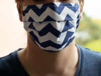 Behelfs-Mund-Nasen-Maske - community maske - streifen blau