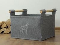 Holzkorb aus Filz hellgrau mit Wolfmotig
