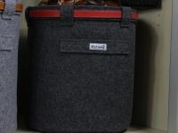 Papierkorb mit Lederband dunkelgrau M