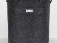Papierkorb Filzkorb dunkelgrau mit Lederband